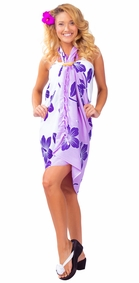Hibiscus Flower Sarong - Purple/White