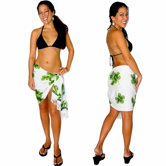 "Hibiscus Half Sarong ""Green / White"" - Final Sale - No Returns"