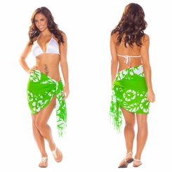 Hibiscus Half Sarong/Mini Sarong in Green / White