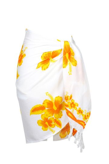 "Hibiscus Half Sarong ""Yellow / White"""