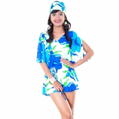 Hibiscus in Turquoise/White Cover-Up Short Dress - Final Sale - No Returns