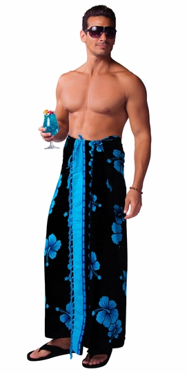 Hibiscus Mens Sarong in Aqua Blue / Black