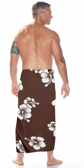 Hibiscus Mens Sarong in Brown/White