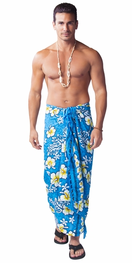 Hibiscus Mens Sarong in Light Blue