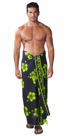 Hibiscus Mens Sarong in Lime Green / Black