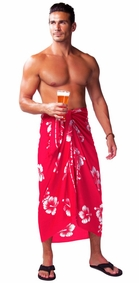 Hibiscus Mens Sarong in Pink/White