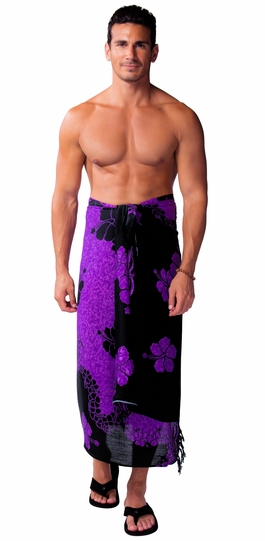 Hibiscus Mens Sarong in Purple / Black