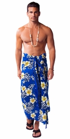 Hibiscus Mens Sarong in Royal Blue / White