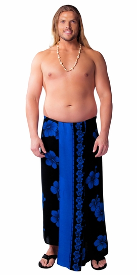 Hibiscus PLUS SIZE Mens Sarong in Blue On Black - Fringeless Sarong