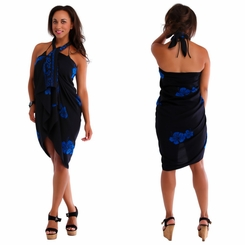 Hibiscus PLUS SIZE Sarong in Blue On Black - Fringeless Sarong