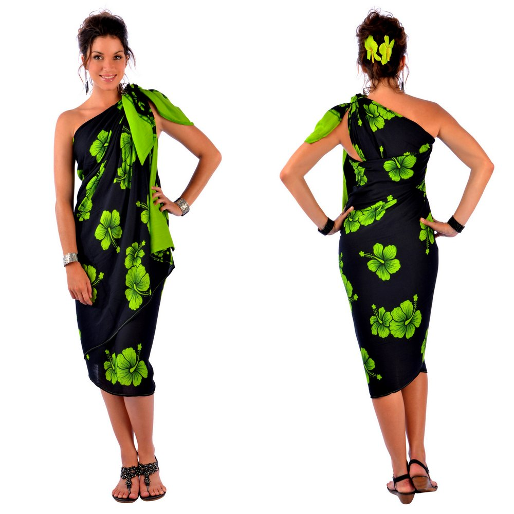 Hibiscus PLUS SIZE Sarong in Lime Green / Black - Fringeless Sarong