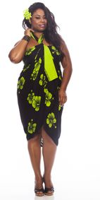 Hibiscus PLUS SIZE Sarong in Lime Green / Black-NO RETURNS