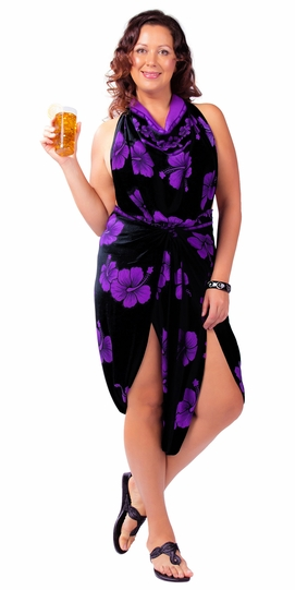 Hibiscus PLUS SIZE Sarong in Purple On Black - Fringeless Sarong