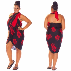 Hibiscus PLUS SIZE Sarong in Red / Black - Fringeless Sarong