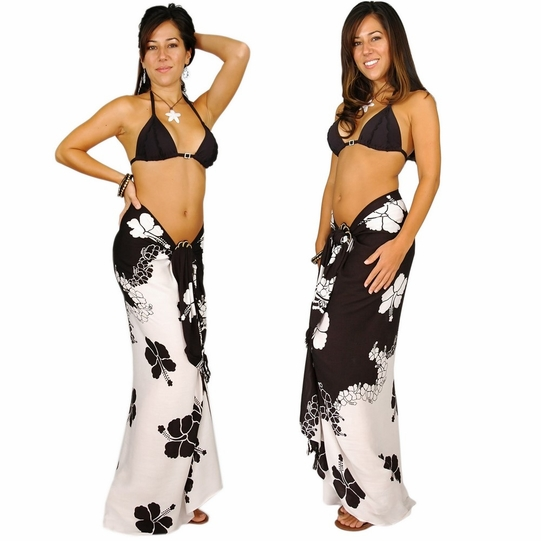 "Hibiscus Sarong ""Black / White"" - Call to Order"