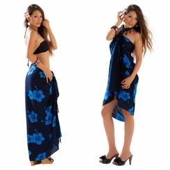 "Hibiscus Sarong ""Blue on Black"""