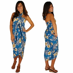 "Hibiscus Sarong ""Light Blue"""