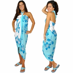 "Hibiscus Sarong ""Light Blue / Turquoise"""