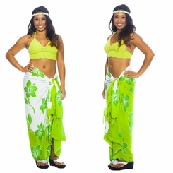 "Hibiscus Sarong ""Lime Green / White"""