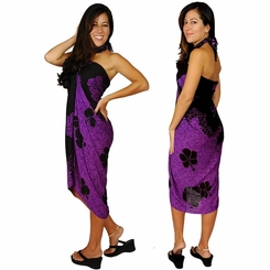 "Hibiscus Sarong ""Purple / Black"""