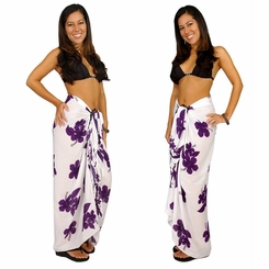 "Hibiscus Sarong ""Purple / White"" - Call to Order"
