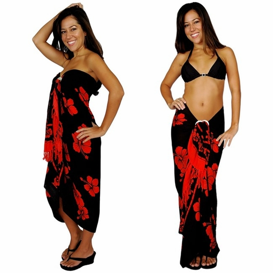 "Hibiscus Sarong ""Red / Black"""