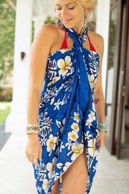 "Hibiscus Sarong ""Royal Blue / White"""