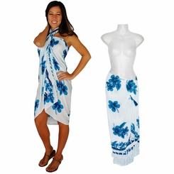 "Hibiscus Sarong ""Turquoise / Blue / White"""