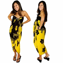 "Hibiscus Sarong ""Yellow / Black"""