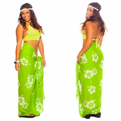 Hibiscus Sarong Lime Green/White