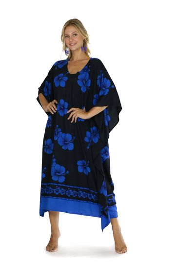 Hibiscus Top Quality Long Poncho Kaftan in Black / Blue