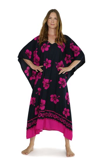 Hibiscus Top Quality Long Poncho Kaftan in Black / Pink