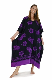 Hibiscus Top Quality Long Poncho Kaftan in Black / Purple