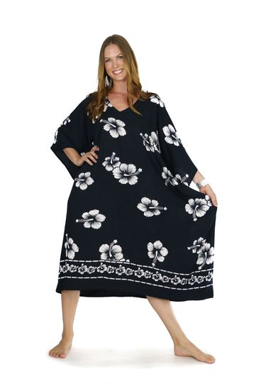 Hibiscus Top Quality Long Poncho Kaftan in Black / White