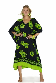Hibiscus Top Quality Long Poncho Kaftan in Lime Green / Black