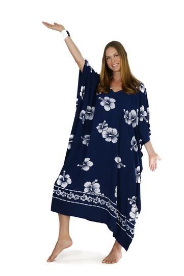 Hibiscus Top Quality Long Poncho Kaftan in Navy Blue / White