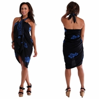 Hibiscus Top Quality Sarong in Black / Blue PLUS SIZE - Fringeless Sarong