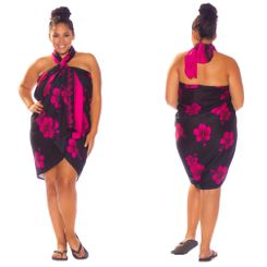 Hibiscus Top Quality Sarong in Black / Pink PLUS Size-NO RETURNS - Fringeless Sarong