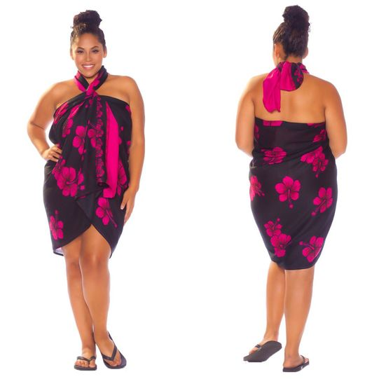 Hibiscus Top Quality Sarong in Black / Pink PLUS Size-NO RETURNS - Fringeless Sarong - Final Sale - No Returns