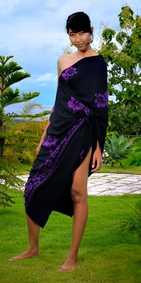 Hibiscus Top Quality Sarong in Black / Purple PLUS SIZE - Fringeless Sarong