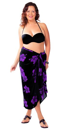 Hibiscus Top Quality Sarong in Black / Purple PLUS Size-NO RETURNS - Fringeless Sarong