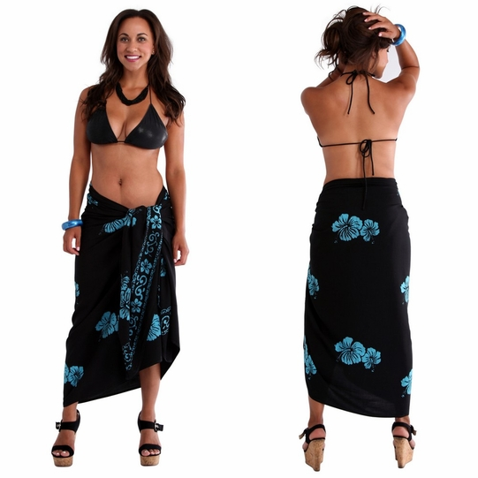 Hibiscus Top Quality Sarong in Black / Turquoise PLUS SIZE - Fringeless Sarong