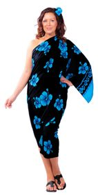 Hibiscus Top Quality Sarong in Black / Turquoise PLUS Size-NO RETURNS - Fringeless Sarong