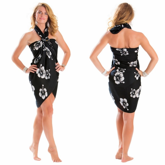 Hibiscus Top Quality Sarong in Black / White PLUS Size - Fringeless Sarong