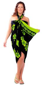 Hibiscus Top Quality Sarong in Lime Green / Black PLUS Size - Fringeless Sarong