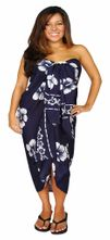 Hibiscus Top Quality Sarong in Navy Blue / White PLUS Size-NO RETURNS - Fringeless Sarong