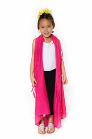 Hot Pink Embroidered Girls Sarong - Final Sale - No Returns