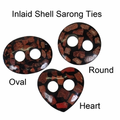 Inlaid Shell Sarong Ties - Black/Brown