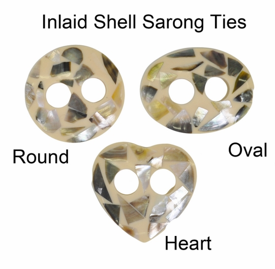 Inlaid Shell Sarong Ties - Natural