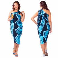 """Jungle Baby Blue"" PLUS SIZE Tie Dye Sarong - Fringeless Sarong"
